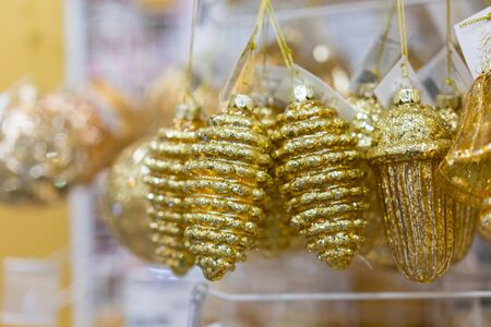 yellow christmas toys in the form of cones
