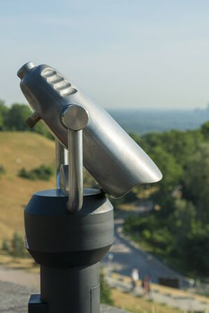 Observation deck with a stationary telescope. vertical photo. Stock fotó - 134656484