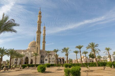 One of the main mosques in touristic city of Sharm el Sheikh, Egypt. Islamic faith concept.