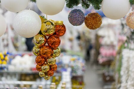 garland of Christmas balls to decorate the Christmas tree. Christmas concept. Christmas background. Stock fotó - 134657064