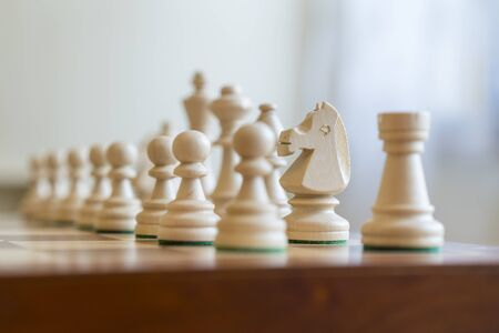 White Chess Pieces on a Chess Board.
