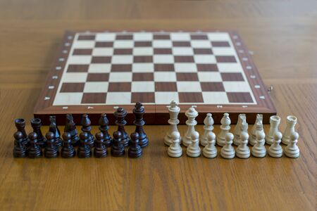 Chess pieces in front of a chessboard.