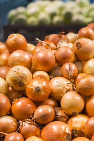 Fresh yellow onions as a background. Vegetable store. Yellow onion lies in a box in a store for sale. vertical photo.