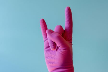 Hand with cleaning glove. Hand With Cleananing Glove. Stock fotó