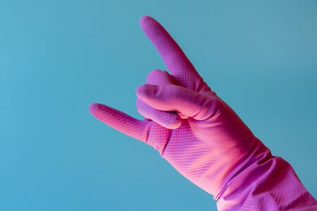 Hand with cleaning glove. Hand With Cleananing Glove. 版權商用圖片