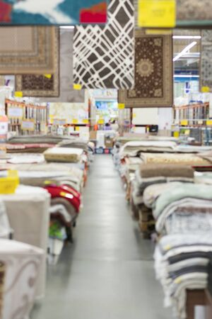 Kiev, Ukraine. July 19 2019 Shop carpets and floor coverings. vertical photo. Sajtókép