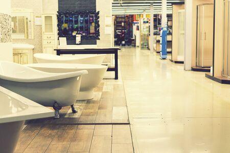 Sanitary engineering shop. White bathrooms. toned