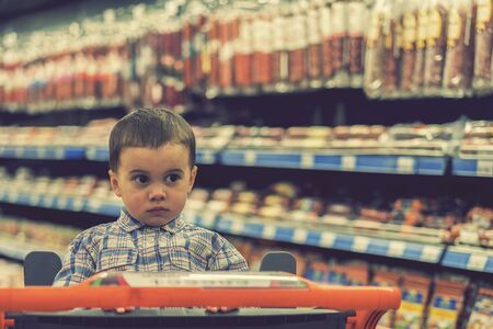 A cute boy dressed in a plaid shirt in a supermarket in a trolley. Against the background of shelves with meat products and sausages. toned