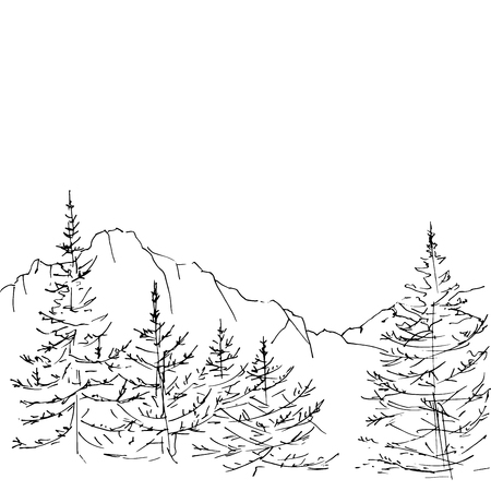 mountain silhouettes and nature viewscape panorama Ilustração