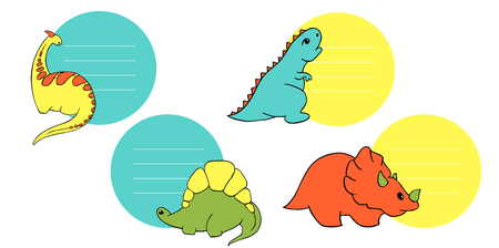 four label labels with small dinosaurs stegosaurus, tyrannosaurus, triceratops, godorascar cartoon character. Lovely funny. Hand drawn vector illustration. Isolated on white background