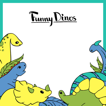 A design element of a frame with a set of funny dinosaurs. Diplodocus, tricerotops, stegosaurus, tyrannosaurus Yellow, red, pink, blue, green and turquoise. Vector hand drawn