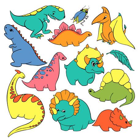 Big set of twelve elements funny kind children's cartoon dinosaurs tyrannosaurus, pterodactyl, diplodocus, triceratops.  hand-drawn vector character illustration.