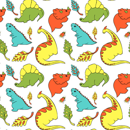 pattern four small dinosaurs stegosaurus, tyrannosaurus, triciraptops, godrosaurus cartoon character. Lovely funny. Palm leaves, beetle Hand drawing vector illustration. Isolated on white background