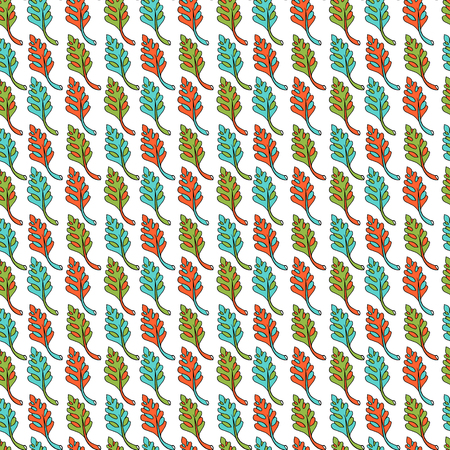 a plant pattern based on palm leaves. Vector illustration on white background. Hand drawing