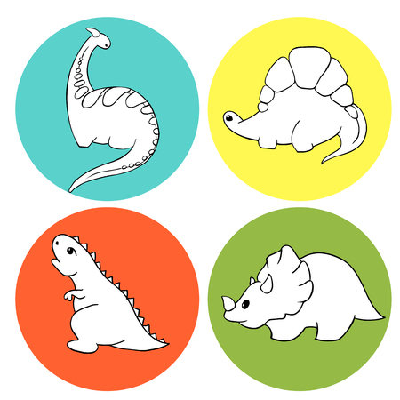 A set of four linear illustrations for coloring Little dinosaurs stegosaurus, tyrannosaurus, triceratops, godorascar cartoon character. Lovely funny. Hand-Drawn Vector Illustration