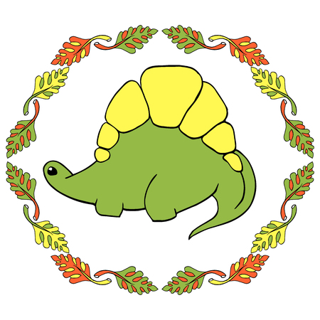 A small green dinosaur stegosaurus is a cartoon character with yellow spiked plates. Lovely funny. surrounded by a frame of palm leaves. Hand drawn vector illustration. Isolated on white background Illustration