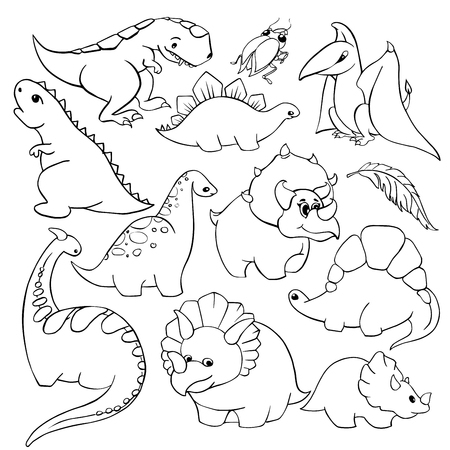 Set of twelve elements funny kind children's cartoon dinosaurs tyrannosaurus, pterodactyl, diplodocus, triceratops. hand-drawn vector coloring book illustration Illustration