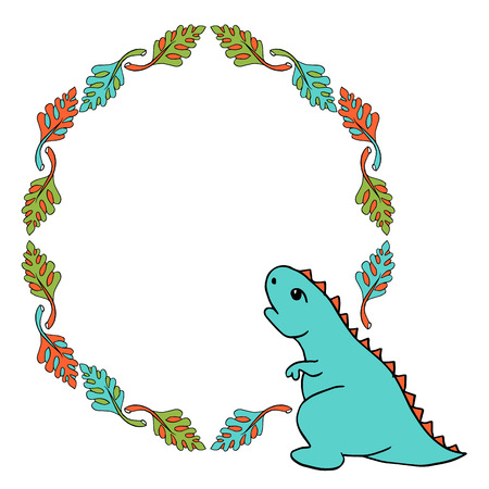 Little Blue Dinosaur Tyrannosaurus is a cartoon character with red spiked plates. Lovely funny. frame of palm leaves. Hand drawn vector illustration. Isolated on white background