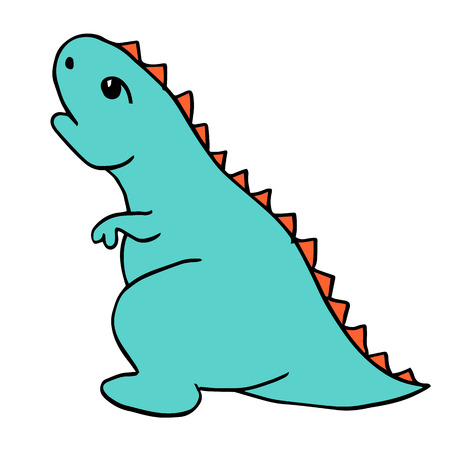 Little Blue Dinosaur Tyrannosaurus is a cartoon character with red spiked plates. Lovely funny. Hand drawn vector illustration. Isolated on white background