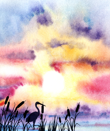 Watercolor seascape. The sunset shines through picturesque multicolored clouds, descending to the horizon above the blue sea. Hand-drawn watercolor illustration.