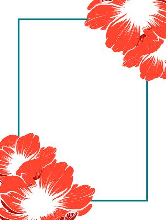 Wedding card border, postcard or photo frame template.