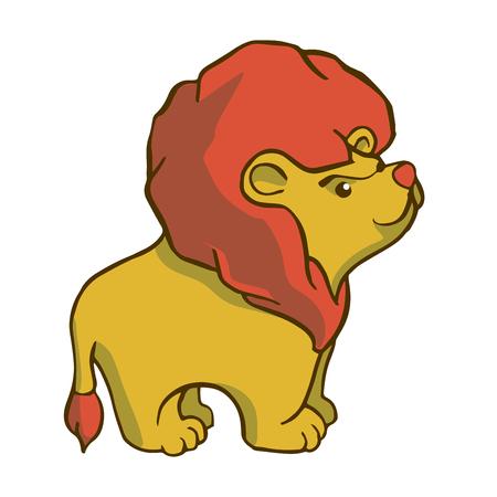 Sticker ready African animals set.  Lion with mane. Illustration