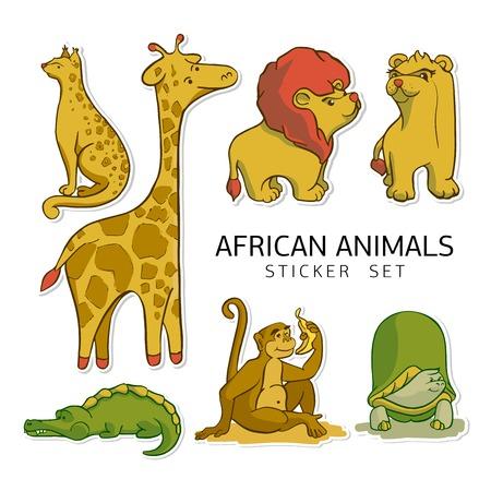 Sticker ready African animals set.  Cheetah, giraffe, lion with lioness, monkey, turtle and crocodile.