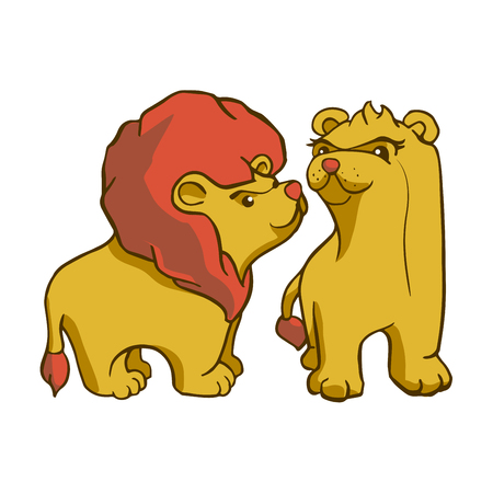 Sticker ready African animals set.  Lion with mane and lioness.