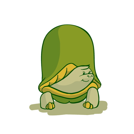Sticker ready African animals set.  Turtle in shell. Illustration