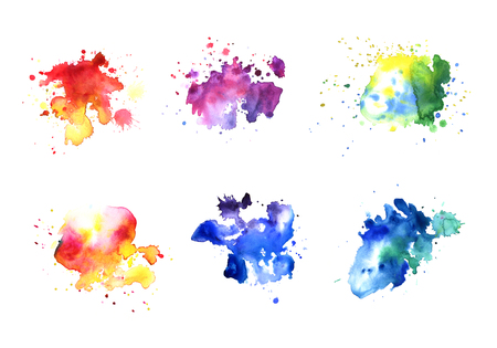A bright formless watercolor blots set. Watercolor illustration of a hand drawn on paper graphic 6 pcs. Reklamní fotografie