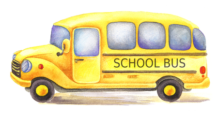 yellow watercolor school bus driven in left direction Foto de archivo - 106936262