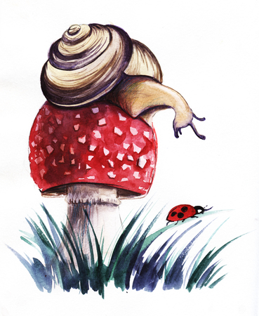 Snail on a leafs. Hand drawn on a paper watercolor illustration.