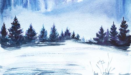 Winter landscape. Lush spruce forest, snowy field. Hand drawn watercolor illustration. Stok Fotoğraf - 115406650