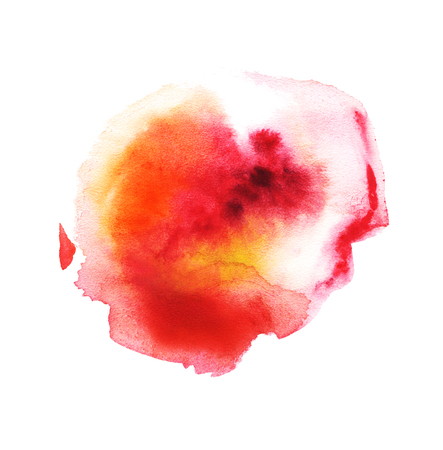 Abstract watercolor colorful blots. Red, orange, yellow, pink. Isolated on a white background.