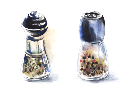 Sketch glass pepper grinder with pepper. Watercolor illustration drawn by hands on wet paper. 免版税图像