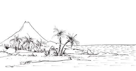 Tropical coastline with palms and rocks against the backdrop of a high volcano near the ocean. Hand-drawn linear sketch with ink.