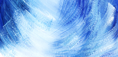 Abstract artistic background. Blue and white diagonal spots and strokes. Allegory Big wave. Hand painted on paper illustration Imagens