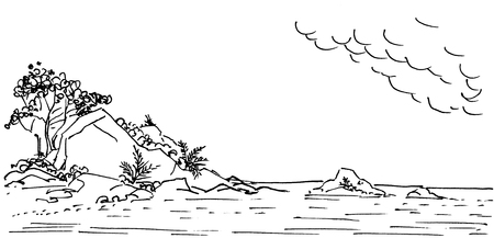 Large stones rocks and lush tropical vegetation on the sea coast. Hand-drawn linear sketch with ink.