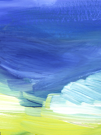 Abstract background. Blue and yellow sky with clouds. Texture of a paint on paper Hand drawn illustration.