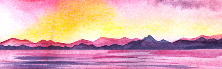 Bright pink sunset on the shores of mountain lake. Calm water surface, endless mountain ranges. Gradient from yellow to pink to purple. Hand-drawn watercolor illustration on texture paper. 免版税图像
