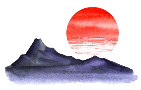 Minimalistic landscape. Dark silhouette of high mountains. Bright red circle of the sun. Watercolor illustration hand-drawn on a white background.