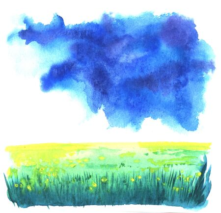 Abstract watercolor landscape background. Blurred yellow spots of flowers on green field with dark green lines of grass beneath colorful cloudscape. Brush stroke illustration on paper texture. Imagens