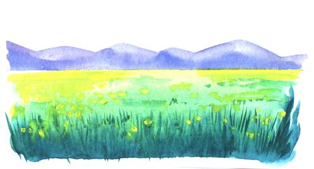 Abstract watercolor hand drawn landscape on paper texture. Brush stroke image of blurred yellow spots of flowers on green field with dark green lines of grass in front of majestic mountains.