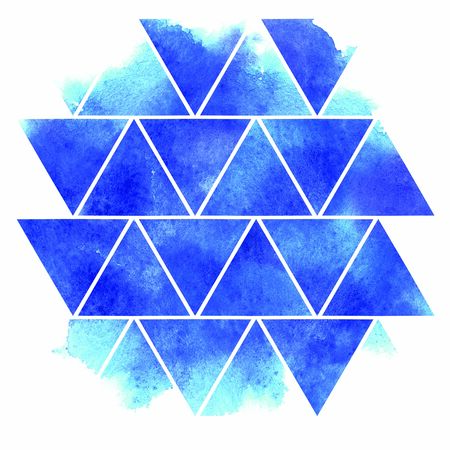 Abstract watercolor geometric pattern with wet ink effect. Bright ornamental triangles of blue shades on white background. Brush stroke hand drawn illustration template on paper texture. Stock Photo