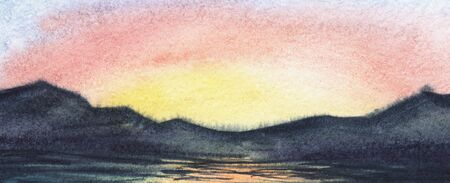 Abstract watercolor background seascape. Dark line of calm water merging with blurred mountain chain beneath colorful sunset sky reflected on smooth surface. Hand drawn brushstroke banner illustration Stock Photo