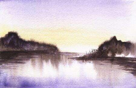 abstract landscape background. Boundless horizon of dark water with two blurred gloomy land plots beneath dusk sky reflecting in smooth surface. Hand drawn by watercolor with charcoal effect.