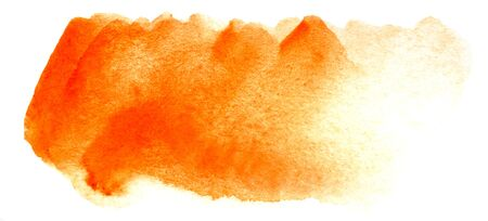 Abstract headline background. A shapeless oblong spot of golden orange yellow color. Gradient from dark to light. Hand drawn watercolor illustration on texture paper. isolate on white