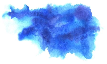 Abstract watercolor background. Shapeless stain of blue liquid paint of different shades. Splashes of turquoise, deep blue, cobalt, cerulean and azure color. Hand-drawn paper template illustration. Stock Photo