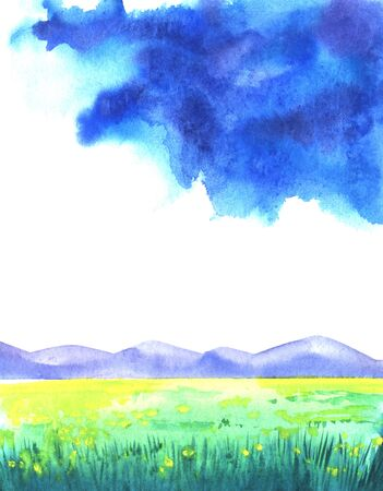 Abstract watercolor landscape background. Luminous sky with colorful cloudscape above mountain chain and blurred yellow spots of flowers on green field. Hand drawn illustration on paper texture. Stock Photo