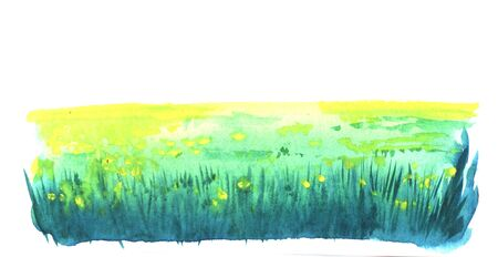 Abstract watercolor hand drawn piece of art on paper texture. Illustration of strip with blurred yellow spots of flowers on green field with dark green lines of grass - all on white background. Imagens